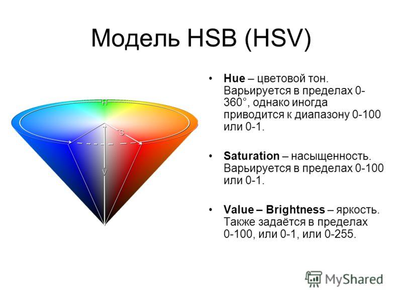 Модель HSB (HSV) Hue – цветовой тон. Варьируется в пределах 0- 360°, однако иногда приводится к диапазону 0-100 или 0-1. Saturation – насыщенность. Варьируется в пределах 0-100 или 0-1. Value – Brightness – яркость. Также задаётся в пределах 0-100, и