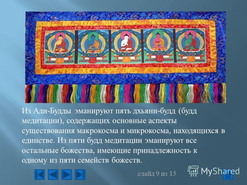 Из Ади-Будды эманируют пять дхьяни-будд (будд медитации), содержащих основные аспекты существования макрокосма и микрокосма, находящихся в единстве. Из пяти будд медитации эманируют все остальные божества, имеющие принадлежность к одному из пяти семе