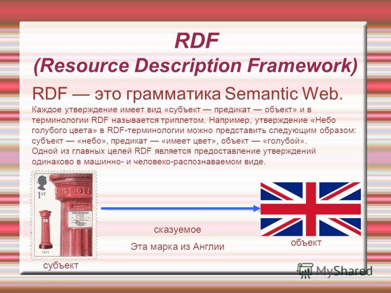RDF (Resource Description Framework) RDF это грамматика Semantic Web. Каждое утверждение имеет вид «субъект предикат объект» и в терминологии RDF называется триплетом. Например, утверждение «Небо голубого цвета» в RDF-терминологии можно представить с