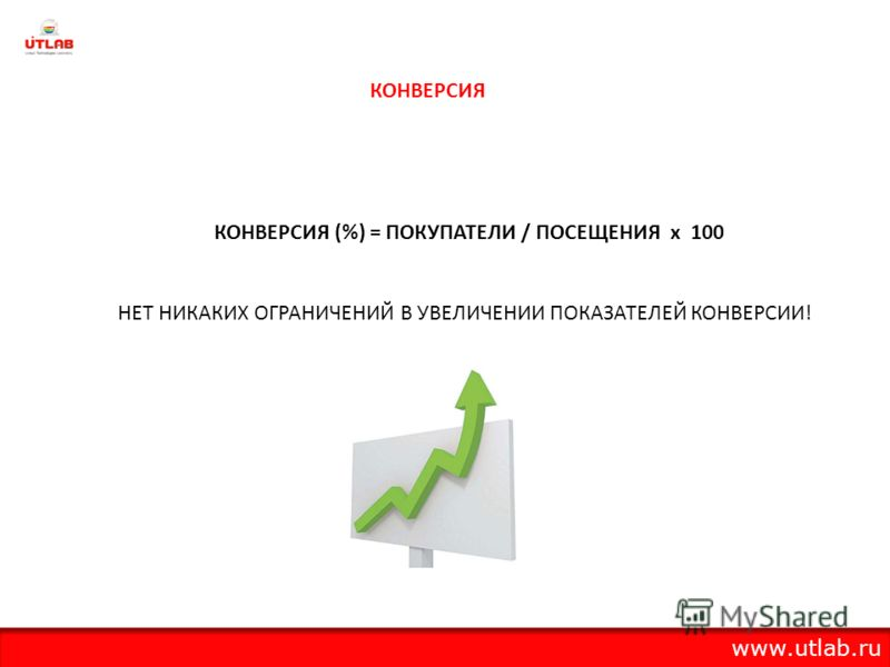КОНВЕРСИЯ (%) = ПОКУПАТЕЛИ / ПОСЕЩЕНИЯ х 100 НЕТ НИКАКИХ ОГРАНИЧЕНИЙ В УВЕЛИЧЕНИИ ПОКАЗАТЕЛЕЙ КОНВЕРСИИ! КОНВЕРСИЯ www.utlab.ru