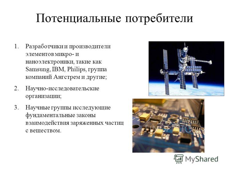 Потенциальные потребители 1.Разработчики и производители элементов микро- и наноэлектроники, такие как Samsung, IBM, Philips, группа компаний Ангстрем и другие; 2.Научно-исследовательские организации; 3.Научные группы исследующие фундаментальные зако