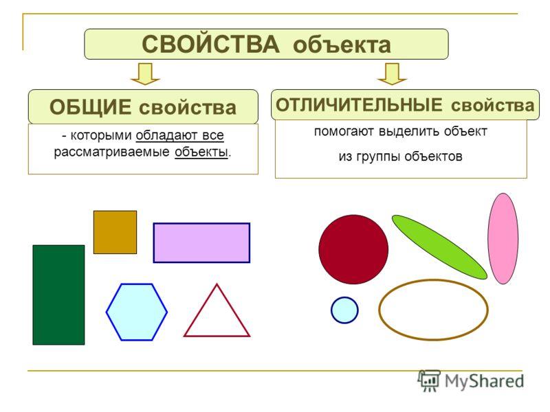 СВОЙСТВА объекта ОБЩИЕ свойства ОТЛИЧИТЕЛЬНЫЕ свойства - которыми обладают все рассматриваемые объекты. помогают выделить объект из группы объектов