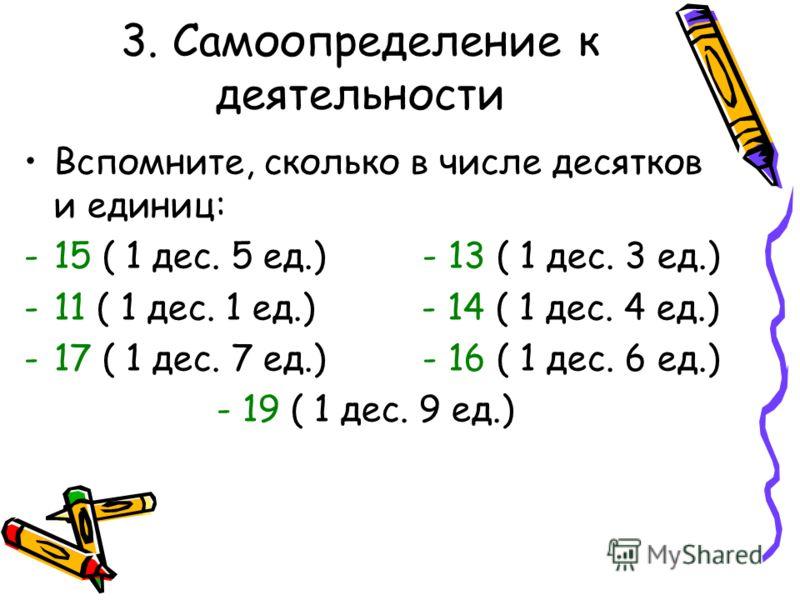 3. Самоопределение к деятельности Вспомните, сколько в числе десятков и единиц: -15 ( 1 дес. 5 ед.) - 13 ( 1 дес. 3 ед.) -11 ( 1 дес. 1 ед.) - 14 ( 1 дес. 4 ед.) -17 ( 1 дес. 7 ед.) - 16 ( 1 дес. 6 ед.) - 19 ( 1 дес. 9 ед.)