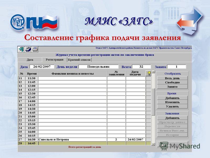 Составление графика подачи заявления