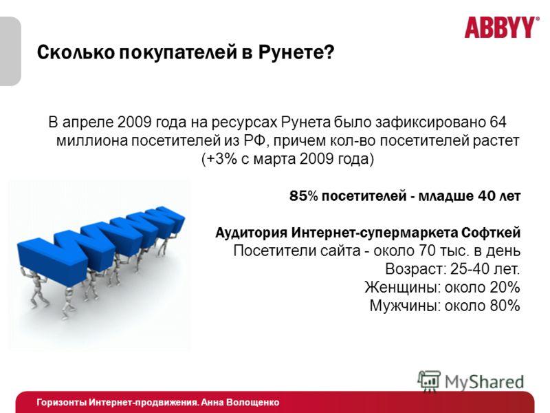 Горизонты Интернет-продвижения. Анна Волощенко Сколько покупателей в Рунете? В апреле 2009 года на ресурсах Рунета было зафиксировано 64 миллиона посетителей из РФ, причем кол-во посетителей растет (+3% с марта 2009 года) 85% посетителей - младше 40