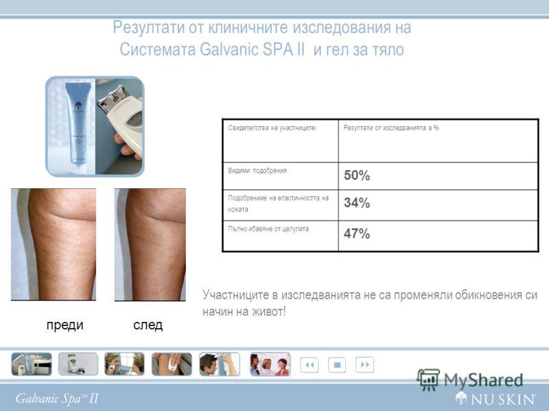 Резултати от клиничните изследования на Системата Galvanic SPA II и гел за тяло предислед Свидетелства на участниците:Резултати от изследванията в % Видими подобрения 50% Подобрениие на еластичността на кожата 34% Пълно ибавяне от целулита 47% Участн
