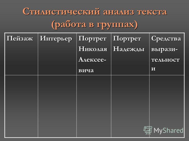 Стилистический анализ текста (работа в группах) ПейзажИнтерьерПортретНиколаяАлексее-вичаПортретНадеждыСредствавырази- тельност и
