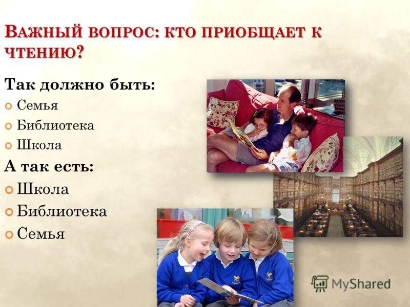 В АЖНЫЙ ВОПРОС : КТО ПРИОБЩАЕТ К ЧТЕНИЮ ? Так должно быть: Семья Библиотека Школа А так есть: Школа Библиотека Семья