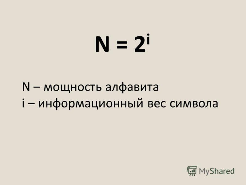 N = 2 i N – мощность алфавита i – информационный вес символа