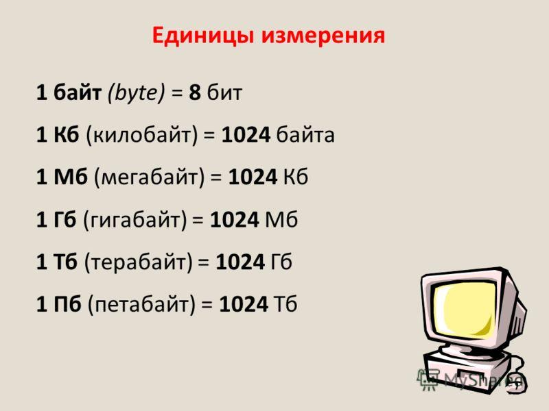 16 Единицы измерения 1 байт (bytе) = 8 бит 1 Кб (килобайт) = 1024 байта 1 Мб (мегабайт) = 1024 Кб 1 Гб (гигабайт) = 1024 Мб 1 Тб (терабайт) = 1024 Гб 1 Пб (петабайт) = 1024 Тб