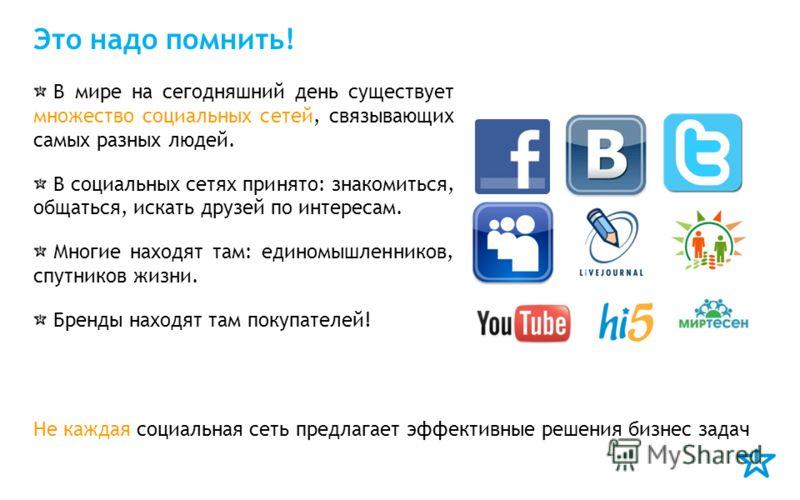 Это надо помнить! В мире на сегодняшний день существует множество социальных сетей, связывающих самых разных людей. В социальных сетях принято: знакомиться, общаться, искать друзей по интересам. Многие находят там: единомышленников, спутников жизни.