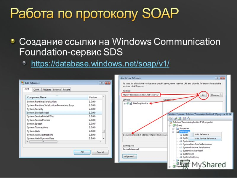 Создание ссылки на Windows Communication Foundation-сервис SDS https://database.windows.net/soap/v1/