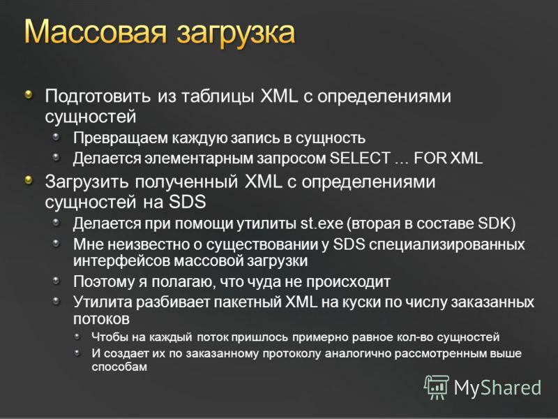 Подготовить из таблицы XML с определениями сущностей Превращаем каждую запись в сущность Делается элементарным запросом SELECT … FOR XML Загрузить полученный XML с определениями сущностей на SDS Делается при помощи утилиты st.exe (вторая в составе SD