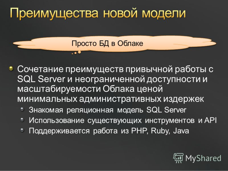 Сочетание преимуществ привычной работы с SQL Server и неограниченной доступности и масштабируемости Облака ценой минимальных административных издержек Знакомая реляционная модель SQL Server Использование существующих инструментов и API Поддерживается