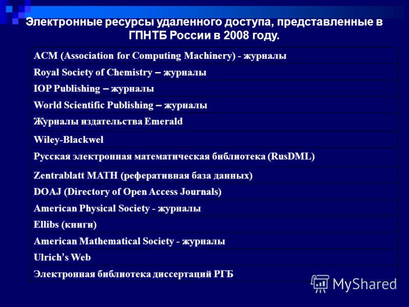 Электронные ресурсы удаленного доступа, представленные в ГПНТБ России в 2008 году. ACM (Association for Computing Machinery) - журналы Royal Society of Chemistry – журналы IOP Publishing – журналы World Scientific Publishing – журналы Журналы издател