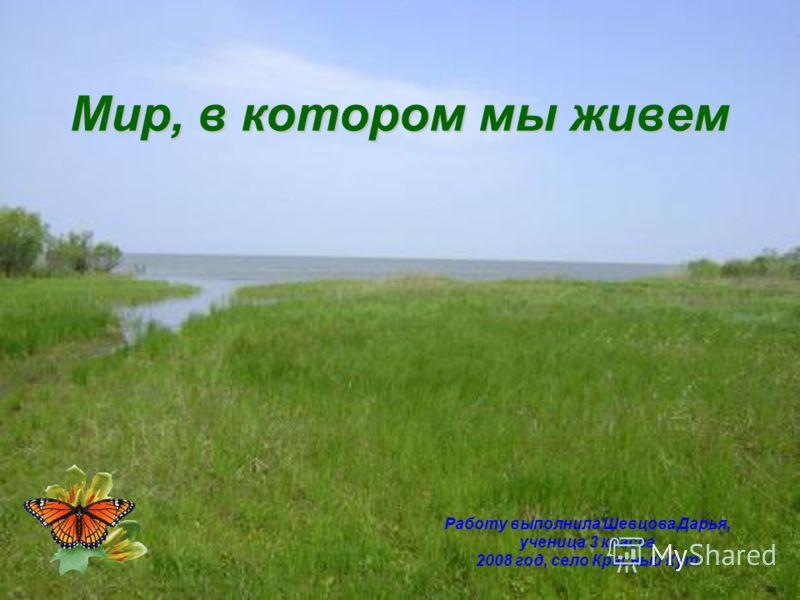 Мир, в котором мы живем Работу выполнила Шевцова Дарья, ученица 3 класса 2008 год, село Красный Кут