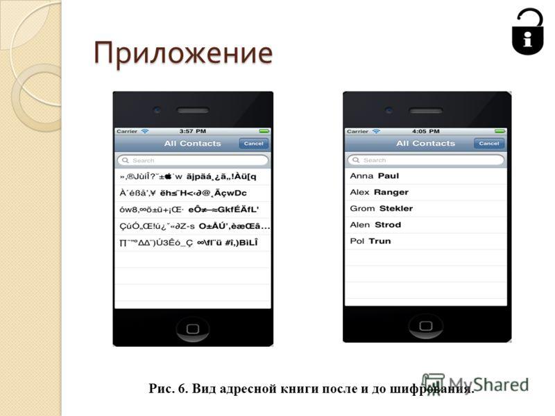 Приложение Рис. 6. Вид адресной книги после и до шифрования.