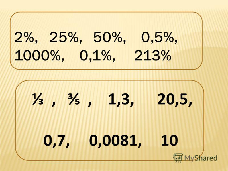 ,, 1,3, 20,5, 0,7, 0,0081, 10 2%, 25%, 50%, 0,5%, 1000%, 0,1%, 213%