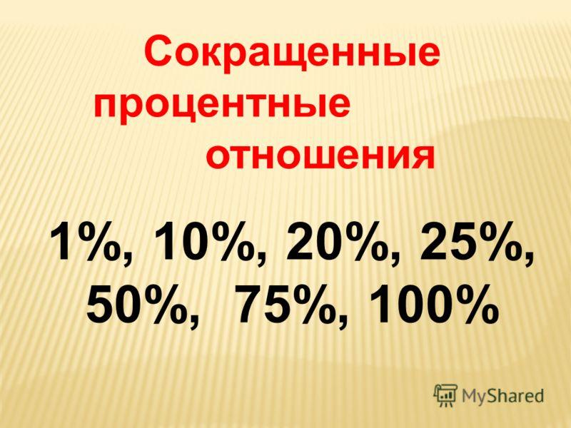 Сокращенные процентные отношения 1%, 10%, 20%, 25%, 50%, 75%, 100%