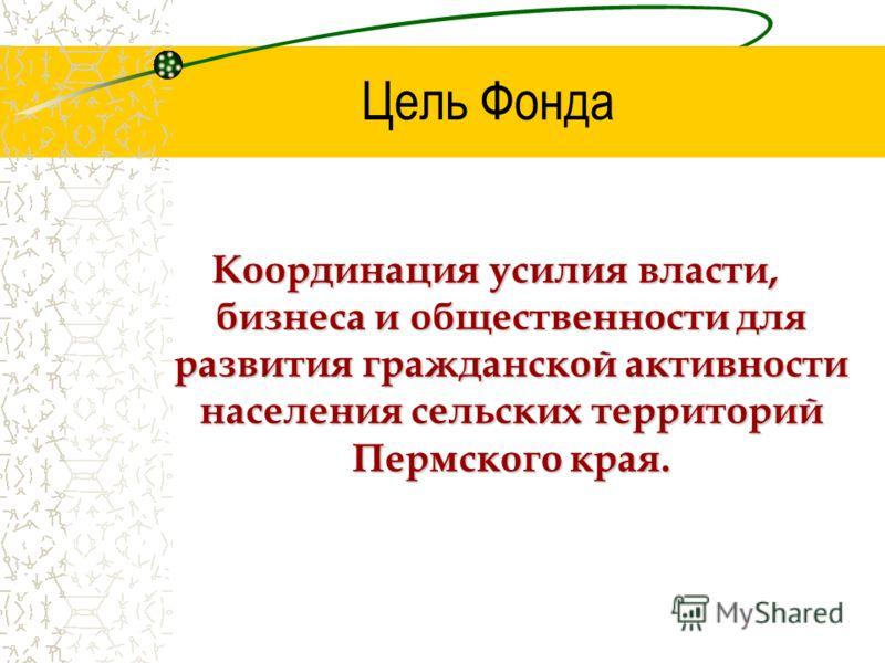 Цель Фонда Координация усилия власти, бизнеса и общественности для развития гражданской активности населения сельских территорий Пермского края.