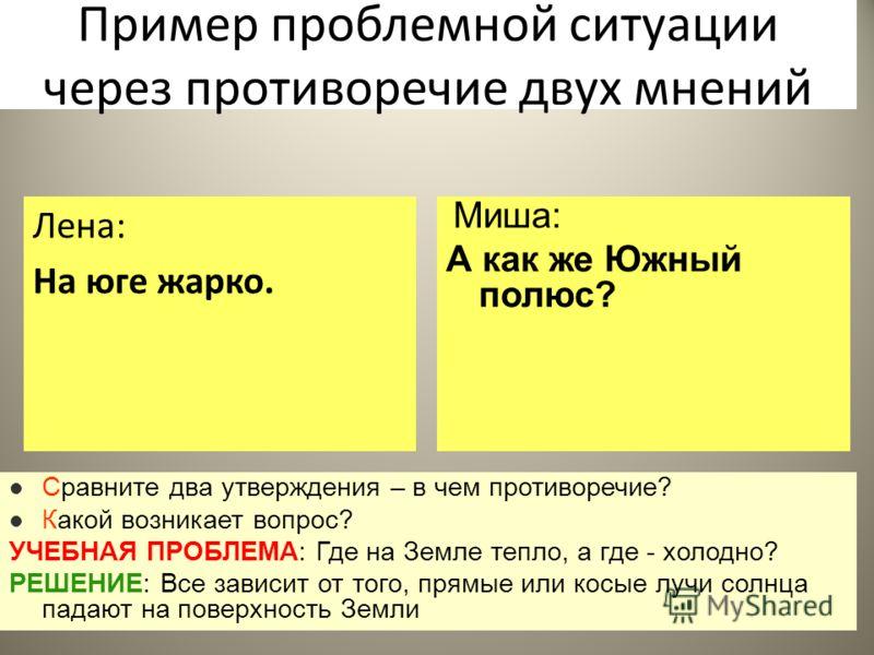 58 Пример проблемной ситуации через противоречие двух мнений Лена: На юге жарко. Миша: А как же Южный полюс? Сравните два утверждения – в чем противоречие? Какой возникает вопрос? УЧЕБНАЯ ПРОБЛЕМА: Где на Земле тепло, а где - холодно? РЕШЕНИЕ: Все за