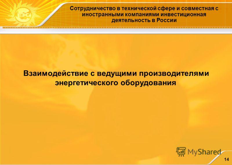 14 Сотрудничество в технической сфере и совместная с иностранными компаниями инвестиционная деятельность в России Взаимодействие с ведущими производителями энергетического оборудования