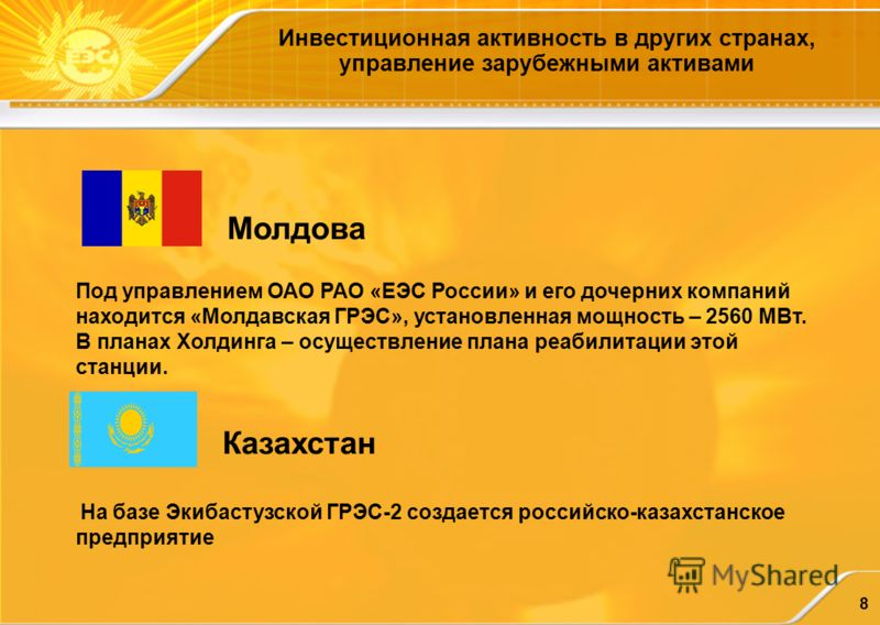 8 Инвестиционная активность в других странах, управление зарубежными активами Молдова Под управлением ОАО РАО «ЕЭС России» и его дочерних компаний находится «Молдавская ГРЭС», установленная мощность – 2560 МВт. В планах Холдинга – осуществление плана