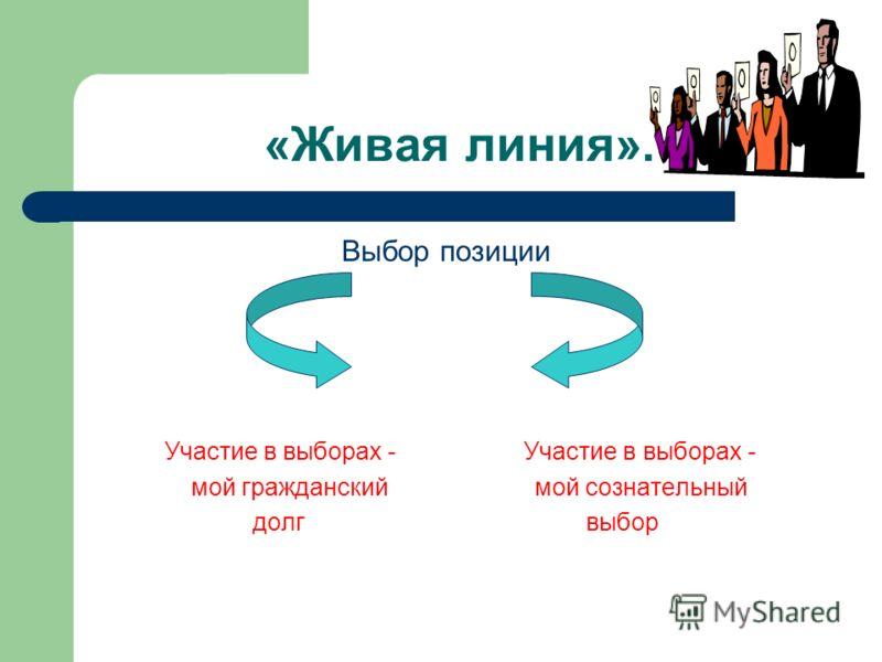 «Живая линия». Выбор позиции Участие в выборах - Участие в выборах - мой гражданский мой сознательный долг выбор