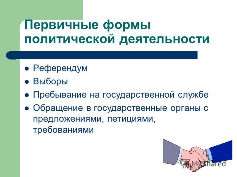 Первичные формы политической деятельности Референдум Выборы Пребывание на государственной службе Обращение в государственные органы с предложениями, петициями, требованиями