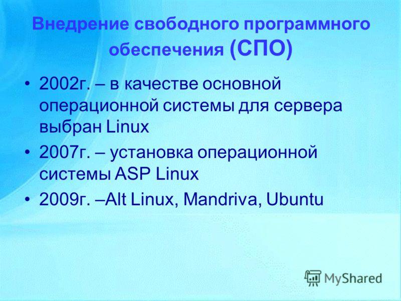 Внедрение свободного программного обеспечения (СПО) 2002г. – в качестве основной операционной системы для сервера выбран Linux 2007г. – установка операционной системы ASP Linux 2009г. –Alt Linux, Mandriva, Ubuntu