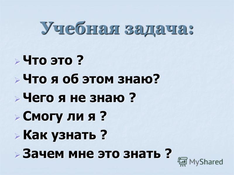 Учебная задача: Что это ? Что это ? Что я об этом знаю? Что я об этом знаю? Чего я не знаю ? Чего я не знаю ? Смогу ли я ? Смогу ли я ? Как узнать ? Как узнать ? Зачем мне это знать ? Зачем мне это знать ?