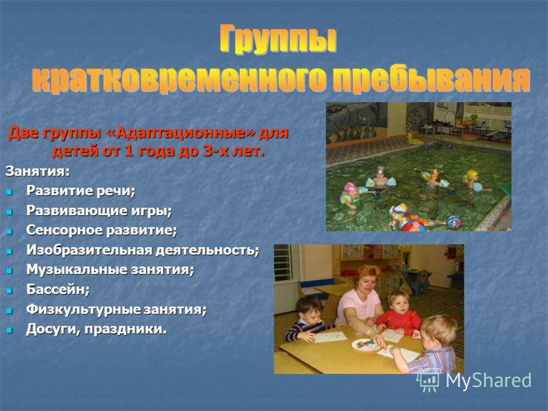 Две группы «Адаптационные» для детей от 1 года до 3-х лет. Занятия: Развитие речи; Развитие речи; Развивающие игры; Развивающие игры; Сенсорное развитие; Сенсорное развитие; Изобразительная деятельность; Изобразительная деятельность; Музыкальные заня