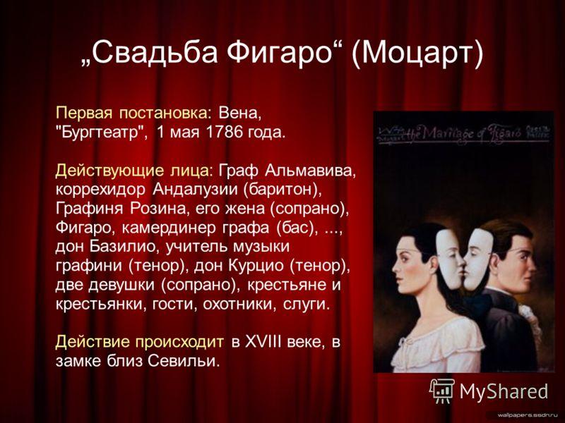 Свадьба Фигаро (Моцарт) Первая постановка: Вена,