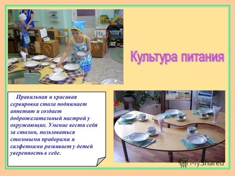 Правильная и красивая сервировка стола поднимает аппетит и создает доброжелательный настрой у окружающих. Умение вести себя за столом, пользоваться столовыми приборами и салфетками развивает у детей уверенность в себе.