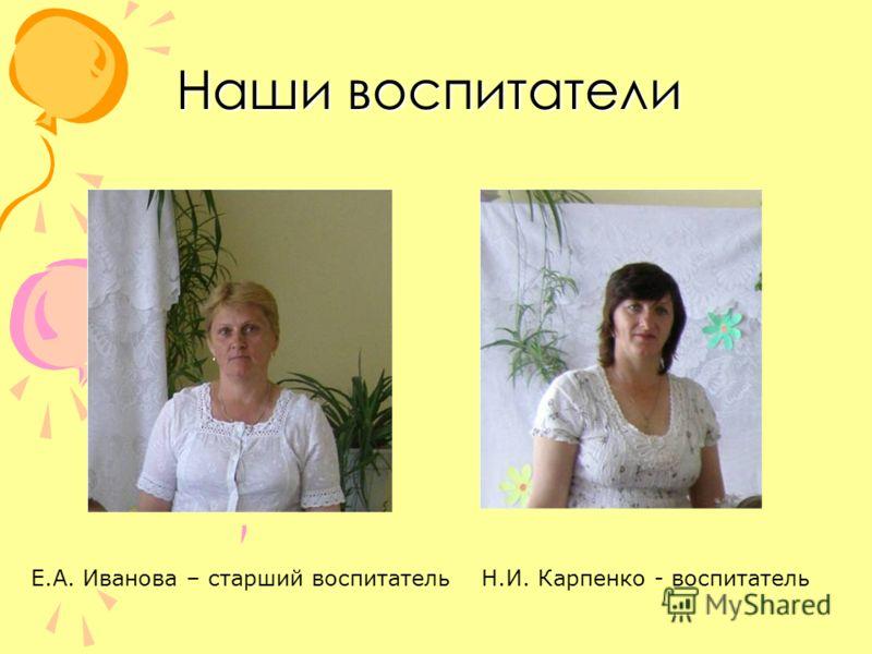 Наши воспитатели Е.А. Иванова – старший воспитательН.И. Карпенко - воспитатель