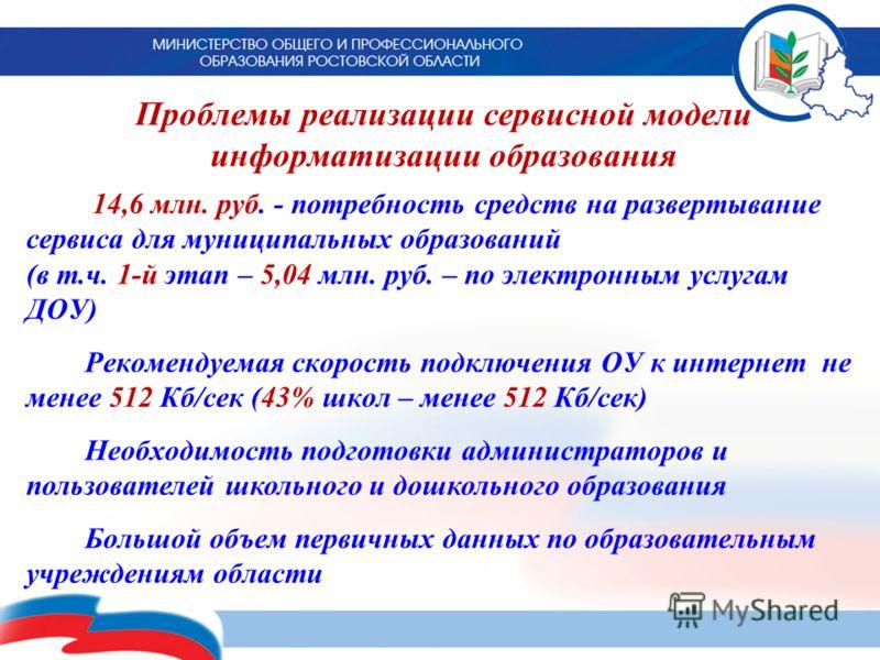 Проблемы реализации сервисной модели информатизации образования 14,6 млн. руб. - потребность средств на развертывание сервиса для муниципальных образований (в т.ч. 1-й этап – 5,04 млн. руб. – по электронным услугам ДОУ) Рекомендуемая скорость подключ