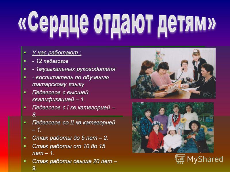 У нас работают : У нас работают : - 12 педагогов - 12 педагогов - 1музыкальных руководителя - 1музыкальных руководителя - воспитатель по обучению татарскому языку - воспитатель по обучению татарскому языку Педагогов с высшей квалификацией – 1. Педаго