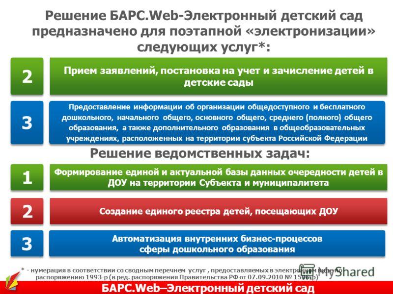 Решение БАРС.Web-Электронный детский сад предназначено для поэтапной «электронизации» следующих услуг*: * - нумерация в соответствии со сводным перечнем услуг, предоставляемых в электронном виде по распоряжению 1993-р (в ред. распоряжения Правительст