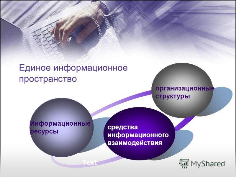 Единое информационное пространство Информационные ресурсы организационные структуры средства информационного взаимодействия Text
