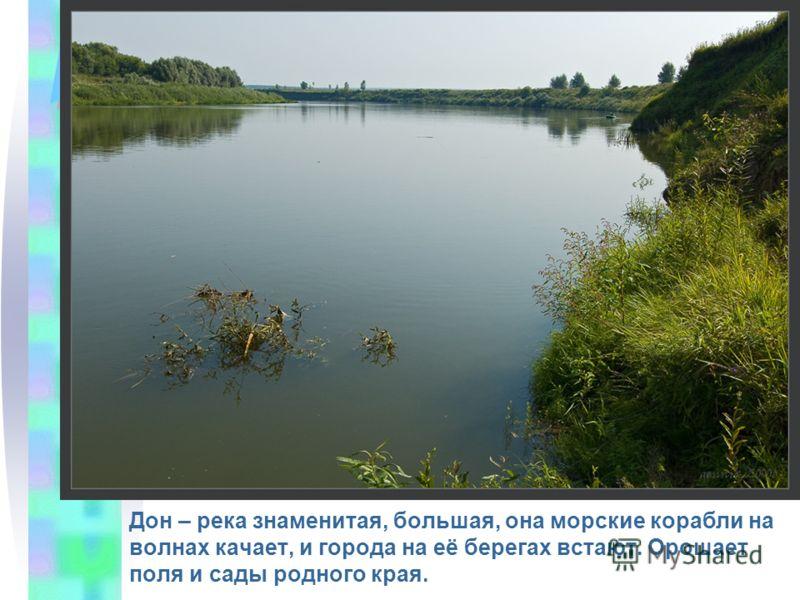 Дон – река знаменитая, большая, она морские корабли на волнах качает, и города на её берегах встают. Орошает поля и сады родного края.