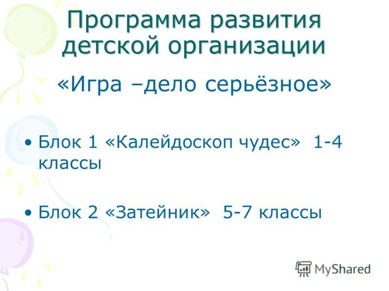 Программа развития детской организации «Игра –дело серьёзное» Блок 1 «Калейдоскоп чудес» 1-4 классы Блок 2 «Затейник» 5-7 классы