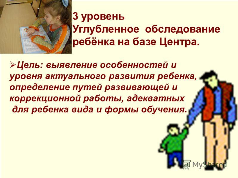 Цель: выявление особенностей и уровня актуального развития ребенка, определение путей развивающей и коррекционной работы, адекватных для ребенка вида и формы обучения. 3 уровень Углубленное обследование ребёнка на базе Центра.