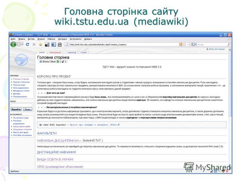 Головна сторінка сайту wiki.tstu.edu.ua (mediawiki)