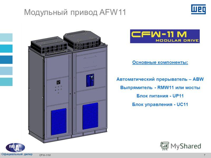 6 Укомплектованная панель Диапазон мощности для нормального режима работы (ND), : Модульный привод AFW11 Блоки380-480В500-600В660-690В 1 370кВт (500л.с.) 400кВт (500л.с.) 400кВт (500л.с.) 2 700кВт (900л.с.) 710кВт (900л.с.) 800кВт (1000л.с.) 3 1050кВ