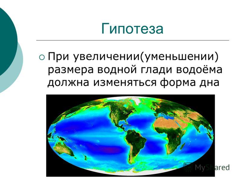 Гипотеза При увеличении(уменьшении) размера водной глади водоёма должна изменяться форма дна