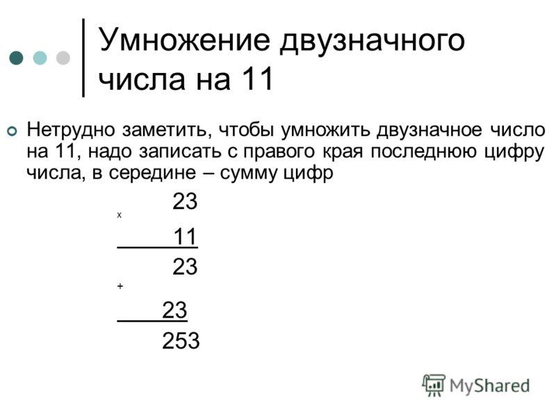 Умножение двузначного числа на 11 Нетрудно заметить, чтобы умножить двузначное число на 11, надо записать с правого края последнюю цифру числа, в середине – сумму цифр 23 х 11 23 + 23 253