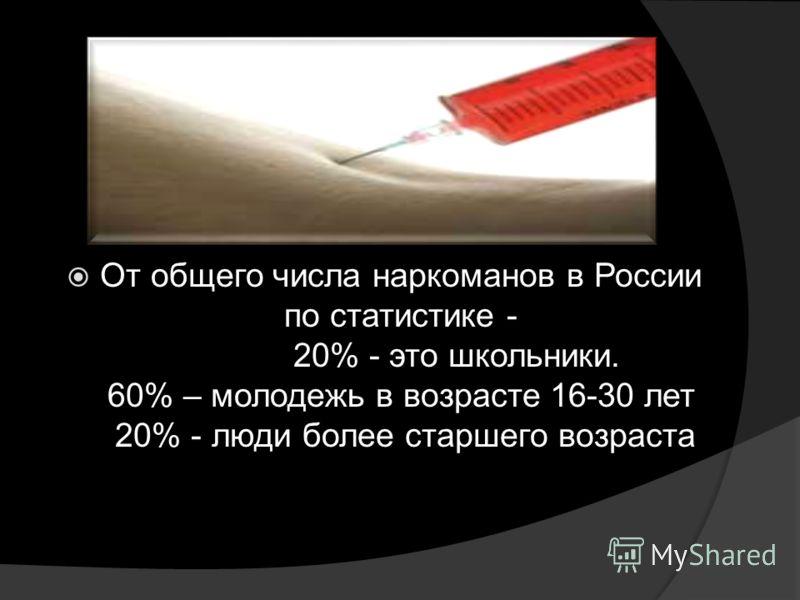 От общего числа наркоманов в России по статистике - 20% - это школьники. 60% – молодежь в возрасте 16-30 лет 20% - люди более старшего возраста