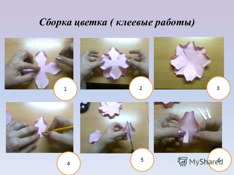 Сборка цветка ( клеевые работы) 1 23 4 56