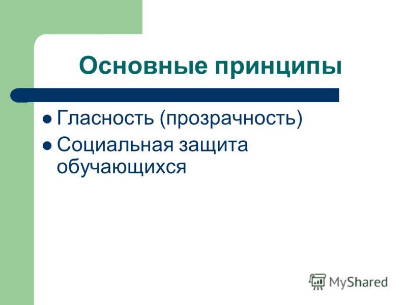 Основные принципы Гласность (прозрачность) Социальная защита обучающихся