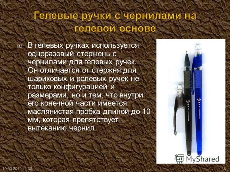 В гелевых ручках используется одноразовый стержень с чернилами для гелевых ручек. Он отличается от стержня для шариковых и ролевых ручек не только конфигурацией и размерами, но и тем, что внутри его конечной части имеется маслянистая пробка длиной до